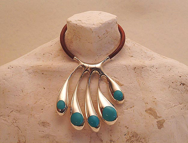 Simon Muscat Goldsmith - Nogu Neckpiece, Sterling, turquoise, leather,