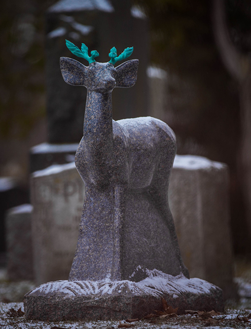 Simon Muscat Goldsmith - Deer Headstone, Ontario Granite with bronze antlers, Height 91.5 cm, by 76cm by 20.5 cm wide. Base 38cm wide. Height 3ft, by 30in by 8in wide. Base 15in wide