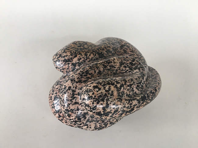 "Simon Muscat Goldsmith - Pink Snake, Manitoulin Granite, 12.75 cm by 15.25 high 7.60. - 5"" by 6"" and 3"" high"